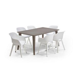 Allibert Loungeset Akola-Lima 7-teilig mit Tisch cappuchino, weiss