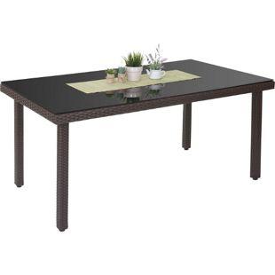 Poly-Rattan Gartentisch Chieti, Esstisch Tisch mit Glasplatte, 160x90x74cm ~ braun