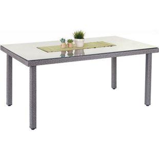 Poly-Rattan Gartentisch Chieti, Esstisch Tisch mit Glasplatte, 160x90x74cm ~ grau