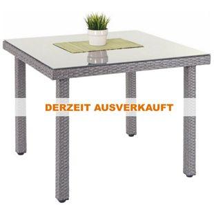Poly-Rattan Gartentisch Chieti, Esstisch Tisch mit Glasplatte, 90x90x74cm ~ grau