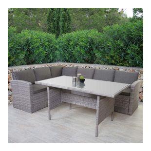 Poly-Rattan-Garnitur MCW-A29, Gartengarnitur Sitzgruppe Lounge-Esstisch-Set, hellgrau ~ ohne Bank