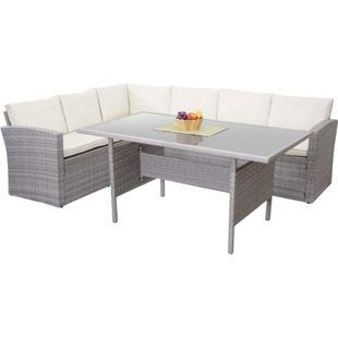 Poly-Rattan-Garnitur MCW-A29, Gartengarnitur Sitzgruppe Lounge-Esstisch-Set, hellgrau ~ Kissen creme