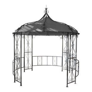 Pergola Cabrera, Rundpavillon Garten Pavillon, stabiles Stahl-Gestell, Ø 3m ~ grau
