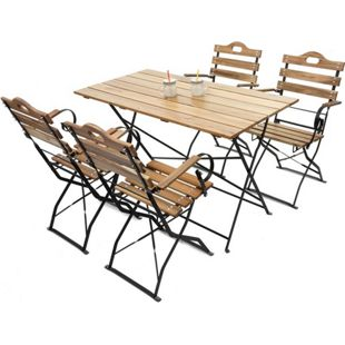 Biergarten-Garnitur Wien, Bistro-Set Garten-Set, klappbar, Akazie lackiert ~ natur