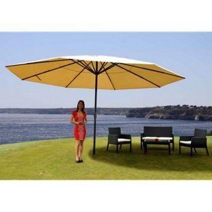 Sonnenschirm Carpi Pro, Gastronomie Marktschirm ohne Volant Ø 5m Polyester/Alu 28kg ~ creme ohne Ständer
