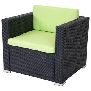Modulares Poly-Rattan Sofa Albury Basic, Sessel Loungesessel, Alu ~ anthrazit, Kissen grün