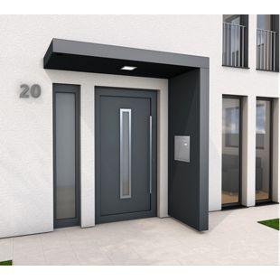 Gutta BS PLUS 200 Rechteckvordach mit Seitenteil rechts und Briefkasten UP10-110E