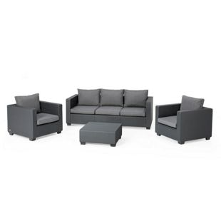 Allibert Lounge-Set Salta 3-Sitzer in Polyrattan-Optik mit Sunbrella-Auflagen, anthrazit