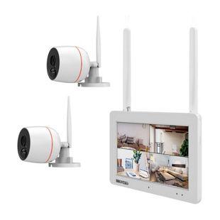 Inkovideo INKO-EL0206 Full HD WLAN Überwachungsset mit Touchscreen, Bewegungssensor und Audioübertragung