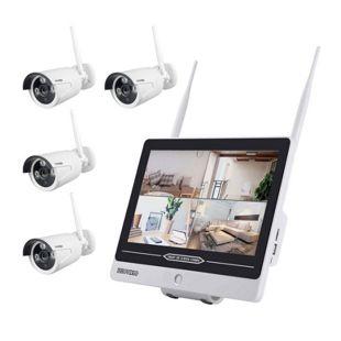 Inkovideo INKO-AL3003-4 Full HD WLAN Überwachungsset mit integriertem 30,48cm (12 Zoll) Monitor und 4 Überwachungskameras
