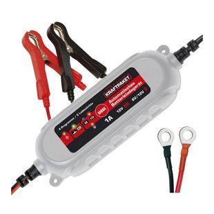 Dino Kraftpaket 6V/12V-1A Batterieladegerät mit Poleklammern & Ringösenkabel