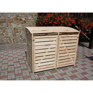 """Promadino Mülltonnenbox """"Vario III"""" für 2 Tonnen, natur"""