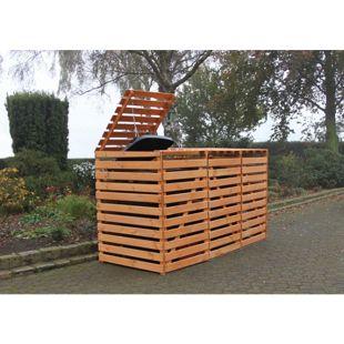 "Promadino Mülltonnenbox ""Vario V"" für 3 Tonnen, honigbraun"