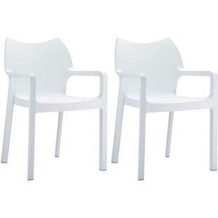 CLP 2er-Set Gartenstuhl DIVA mit Armlehnen | Pflegeleichter Kunststoffstuhl mit einer Belastbarkeit von 160 kg | In verschiedenen Farben erhältlich