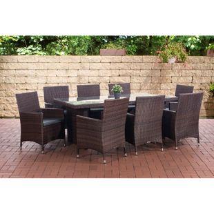CLP Polyrattan Sitzgruppe AVIGNON BIG | Garten-Set: 1 Tisch + 8 Gartenstühle inkl. Sitzauflagen | In verschiedenen Farben erhältlich