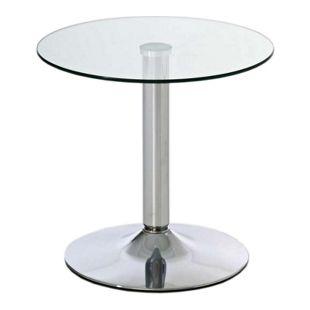 CLP Beistelltisch IKARUS mit einer runden Tischplatte aus Sicherheitsglas I Stehtisch mit Metallgestell in Chrom-Optik