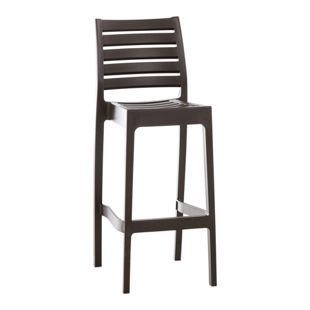 CLP Outdoor-Barhocker ARES mit Fußstütze | Tresenhocker in Rattan-Optik | Stapelbarer wetterfester Kunststoff-Barstuhl mit einer Sitzhöhe von: 75 cm | In verschiedenen Farben erhältlich