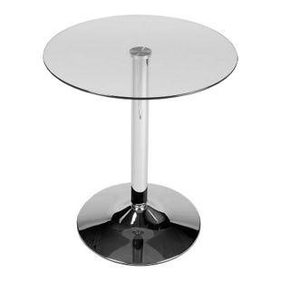 CLP Glastisch mit einer runden Tischplatte aus Sicherheitsglas | Stehtisch mit Metallgestell in Chrom-Optik | Durchmesser Ø 60 cm, Höhe 70 cm