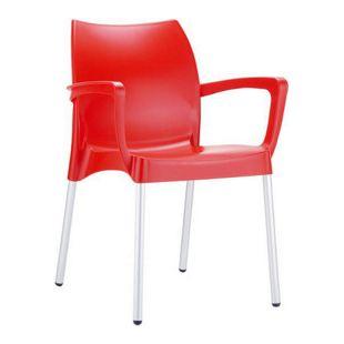 CLP Gartenstuhl DOLCE mit Metallgestell und Kunststoffsitz I Wetterbeständiger Stapelstuhl bis zu 160 kg belastbar I In verschiedenen Farben erhältlich