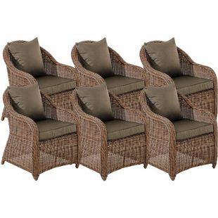 CLP 6er Set Sessel STAVANGER inklusive Sitzkissen I Robuster Gartenstuhl mit einem Untergestell aus Aluminium I 5mm starkes Polyrattan