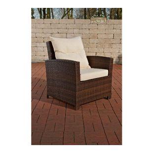 CLP Polyrattan-Sessel FISOLO inklusive Sitzkissen I Robuster Gartenstuhl mit einem Untergestell aus Aluminium I In verschiedenen Farben erhältlich