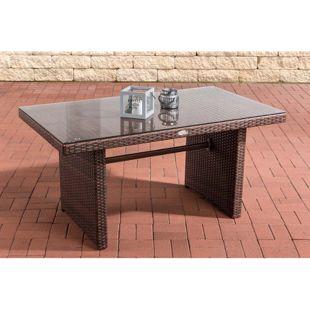 CLP Polyrattan-Gartentisch FISOLO mit einer Tischplatte aus Glas I Wetterbeständiger Tisch aus Polyrattan
