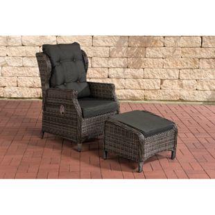 CLP Polyrattan-Sessel BRENO mit Sitzpolster und Fußhocker I Relaxsessel mit verstellbarer Rückenlehne I  In verschiedenen Farben erhältlich