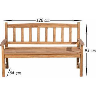 CLP Teakholz-Gartenbank AUCLAND mit Lehne I Holzbank für den Garten I Sitzbank mit Armlehnen I In verschiedenen Größen wählbar