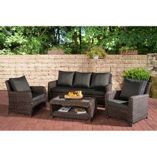 CLP Gartengarnitur SAN FERNANDO | Sitzgruppe mit 7 Sitzplätzen | Gartenmöbel-Set aus Polyrattan | In verschiedenen Farben erhältlich