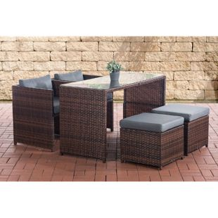 CLP Polyrattan-Gartengarnitur TAHITI I Sitzgruppe mit 4 Sitzplätzen I Komplett-Set mit 2 Stühlen, 2 Hockern und 1 Tisch