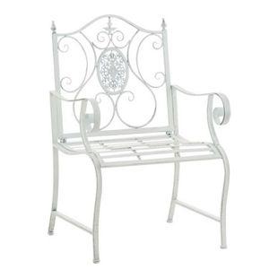 CLP Lackierter Eisen-Gartenstuhl PUNJAB mit Armlehne I Outdoor-Stuhl im Landhausstil I In verschiedenen Farben erhältlich