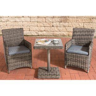 CLP Garten-Sitzgruppe PALERMO aus Polyrattan l Rundrattan Gartengarnitur mit Aluminiumgestell | Garten-Set: 2 Stühle und ein Tisch