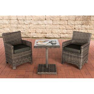CLP Polyrattan Gartengarnitur CARUSO | Sitzgruppe mit 2 Sitzplätzen | Gartenmöbel-Set: 2 Gartenstühle und ein Tisch | In verschiedenen Farben erhältlich