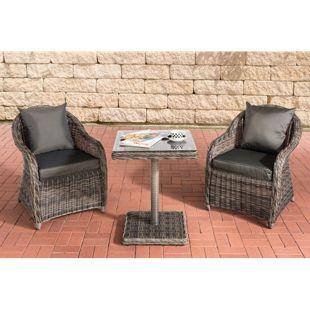 CLP Polyrattan Gartengarnitur TERMINI | Sitzgruppe mit 2 Sitzplätzen | Gartenmöbel-Set: 2 Gartenstühle und ein Tisch | In verschiedenen Farben erhältlich