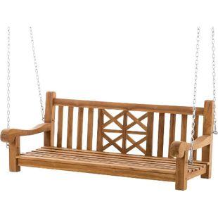 CLP Gartenschaukel aus massivem Teakholz I Wetterfeste Holzschaukel inklusive Befestigungsmaterial I Pflegeleichte Hollywoodschaukel I In verschiedenen Größen erhältlich