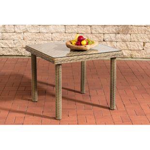 CLP Polyrattan-Gartentisch PUERTO RICO mit einer Tischplatte aus Glas I Wetterbeständiger Tisch aus Polyrattan I In verschiedenen Farben und Größen erhältlich