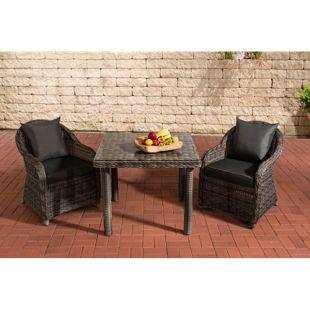 CLP Gartengarnitur SAN JUAN  | Set mit 2 Gartenstühlen und einem Esstisch 80 x 80 cm mit Klarglasplatte| Sitzgruppe mit 2 Sitzplätzen