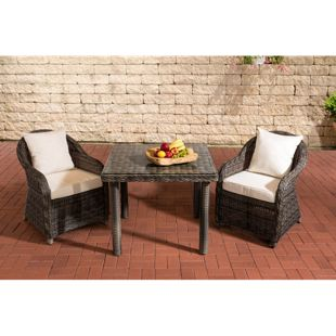 CLP Gartengarnitur SAN JUAN    Set mit 2 Gartenstühlen und einem Esstisch 80 x 80 cm mit Klarglasplatte  Sitzgruppe mit 2 Sitzplätzen