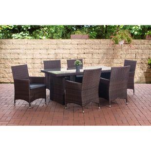 CLP Polyrattan Sitzgruppe AVIGNON (Tisch 180 x 90 cm + 6 x Polyrattan Stuhl Julia + Sitzauflagen), bis zu 5 Rattan-Farben + 5 Bezugsfarben wählbar