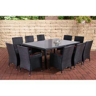 CLP Polyrattan-Sitzgruppe TROPEA | Garten-Set mit 10 Sitzplätzen | Komplett-Set bestehend aus: 10 x Polyrattan Stuhl und 1x Esstisch
