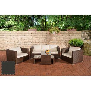 CLP Polyrattan Gartenlounge MALOLO | Sitzgruppe inkl. Polsterauflagen | Komplett-Set: 1x 3er Sofa, 2 Sessel, 2 Tische