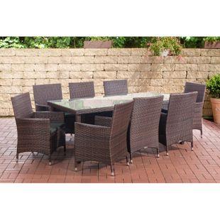 CLP Polyrattan Sitzgruppe FLORENZ BIG   Garten-Set Tisch und 8 Gartenstühle mit Sitzauflagen I Sitzgruppe mit 8 Sitzplätzen