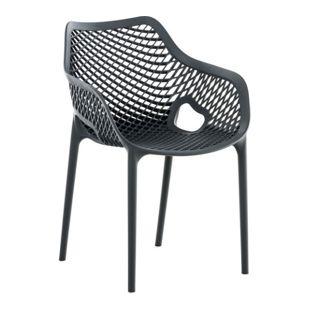 CLP XL-Bistrostuhl AIR aus Kunststoff I Stapelstuhl AIR mit einer Sitzhöhe von 44 cm I Outdoor-Stuhl mit Wabenmuster I In verschiedenen Farben erhältlich