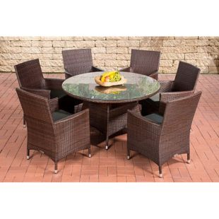 CLP Polyrattan Sitzgruppe VENEZUELA | Garten-Set: ein Esstisch und 6 Gartenstühle | In verschiedenen Farben erhältlich