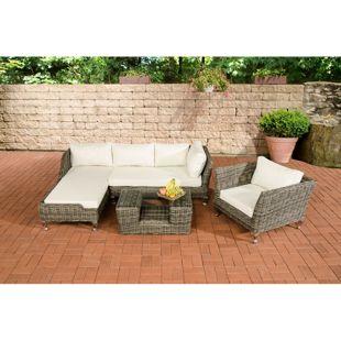 CLP Gartengarnitur Moss I Sitzgruppe mit 4 Sitzplätzen I Gartenmöbel-Set aus Polyrattan I In verschiedenen Farben erhältlich