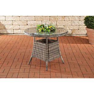 CLP Polyrattan Tisch FARSUND I Gartentisch mit runder Tischplatte aus Sicherheitsglas I Balkontisch für bis zu 4 Personen I In verschiedenen Farben erhältlich
