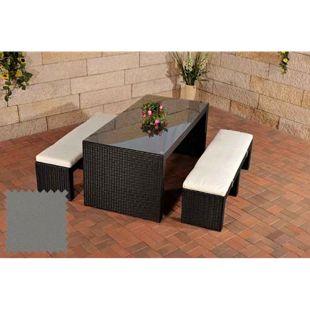 CLP Polyrattan-Gartenbar CORUNA | Komplett-Set: 2x Sitzbank und 1x Bartisch | Garten-Set inkl. Sitzpolster | In verschiedenen Farben erhältlich