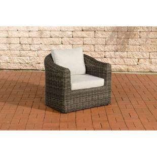 CLP Poly-Rattan Sessel BERGEN mit Sitz- und Rückenkissen, 5mm Rundrattan, ALU Gestell, 100% rostfrei