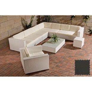 CLP Polyrattan Gartenmöbel-Set BARCELONA | Lounge mit 6 Sitzplätzen | Gartengarnitur mit Aluminium-Gestell | In verschiedenen Farben erhältlich