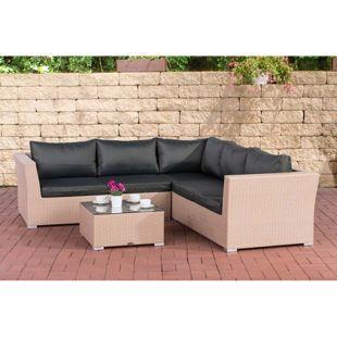 CLP Gartengarnitur TERRA I Sitzgruppe mit 6 Sitzplätzen I Gartenmöbel-Set aus Polyrattan I In verschiedenen Farben erhältlich